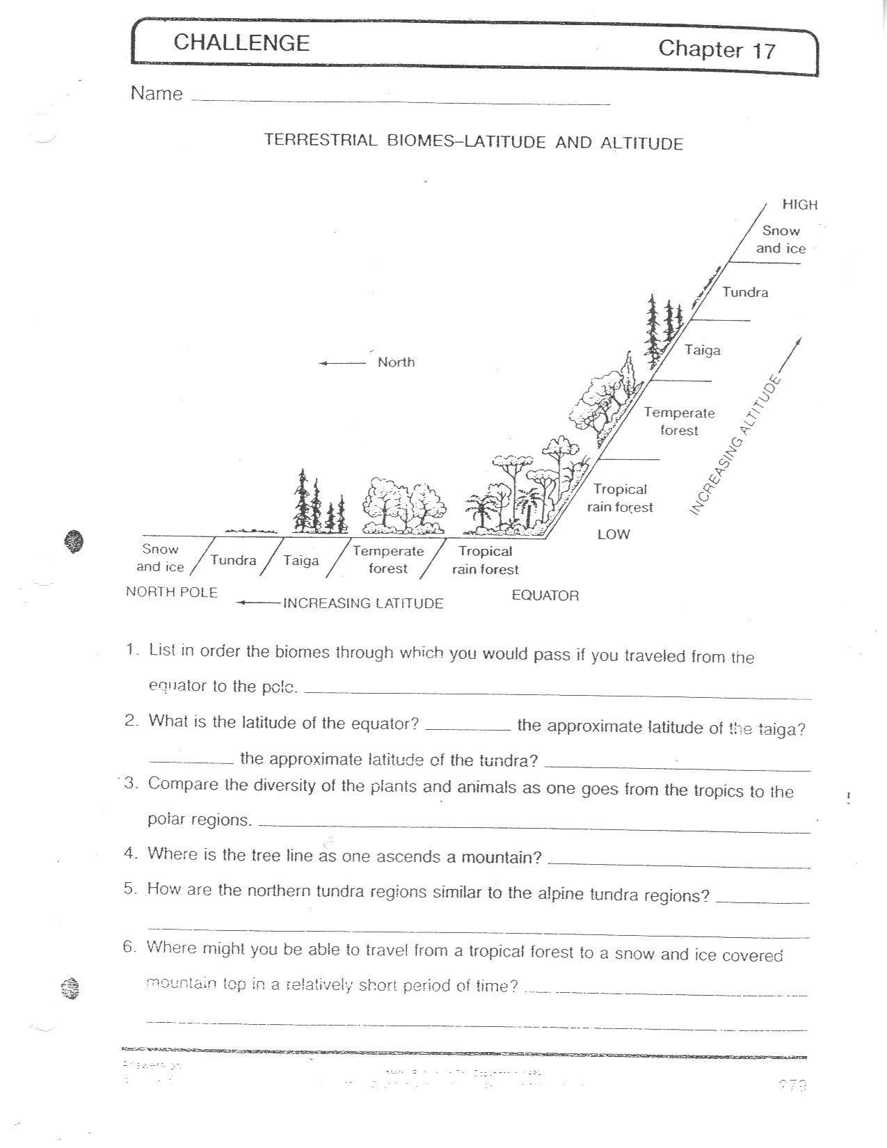 Ecology Worksheets Middle School Biomes at A Glance Worksheet Answers
