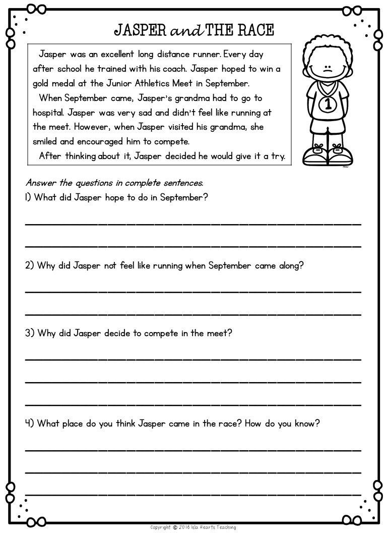 Editing Worksheet 2nd Grade Second Grade Reading Prehension Passages and Questions
