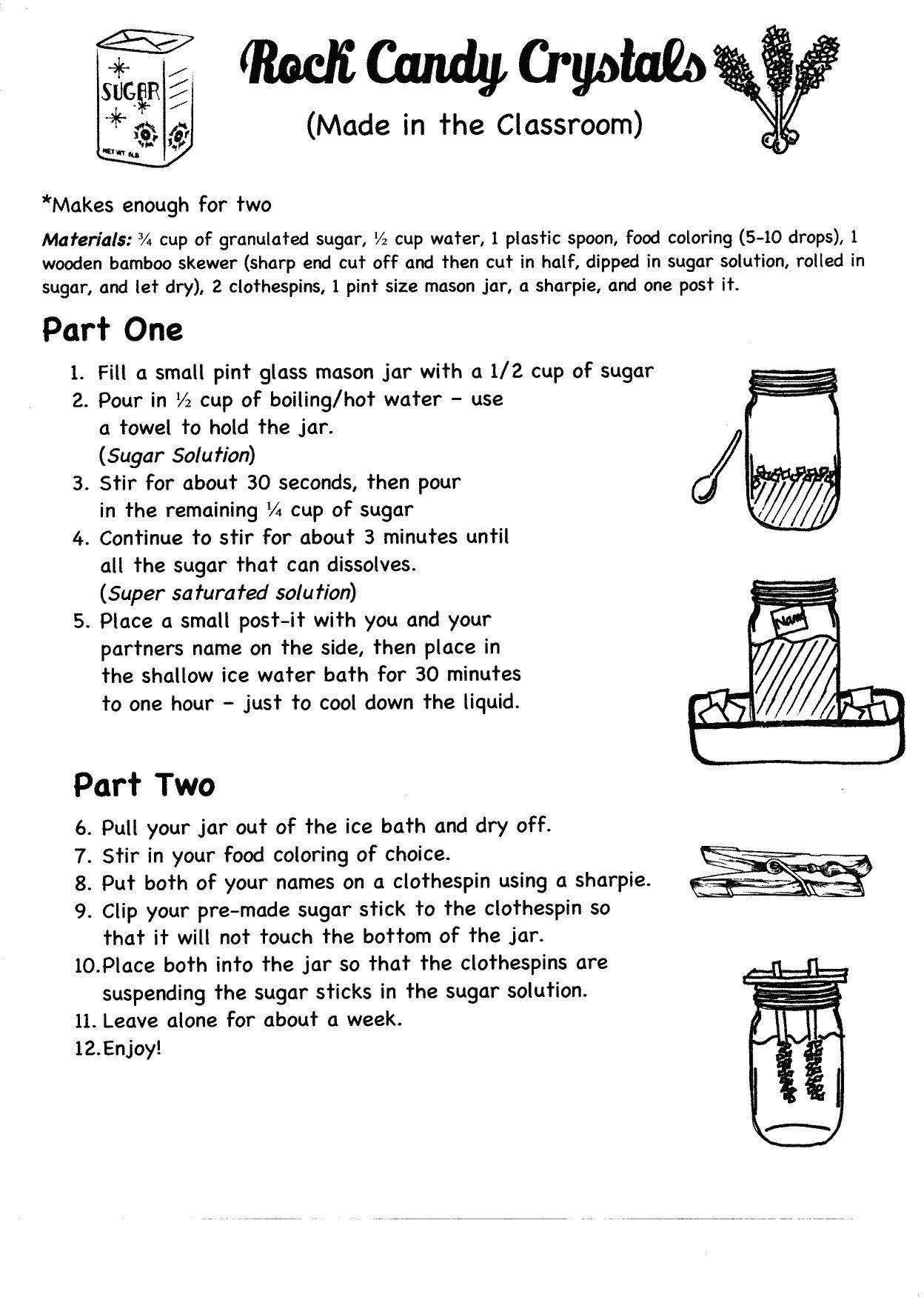 Eighth Grade Science Worksheets Candy Crystals In the Classroom Pg 8th Grade Science Lab