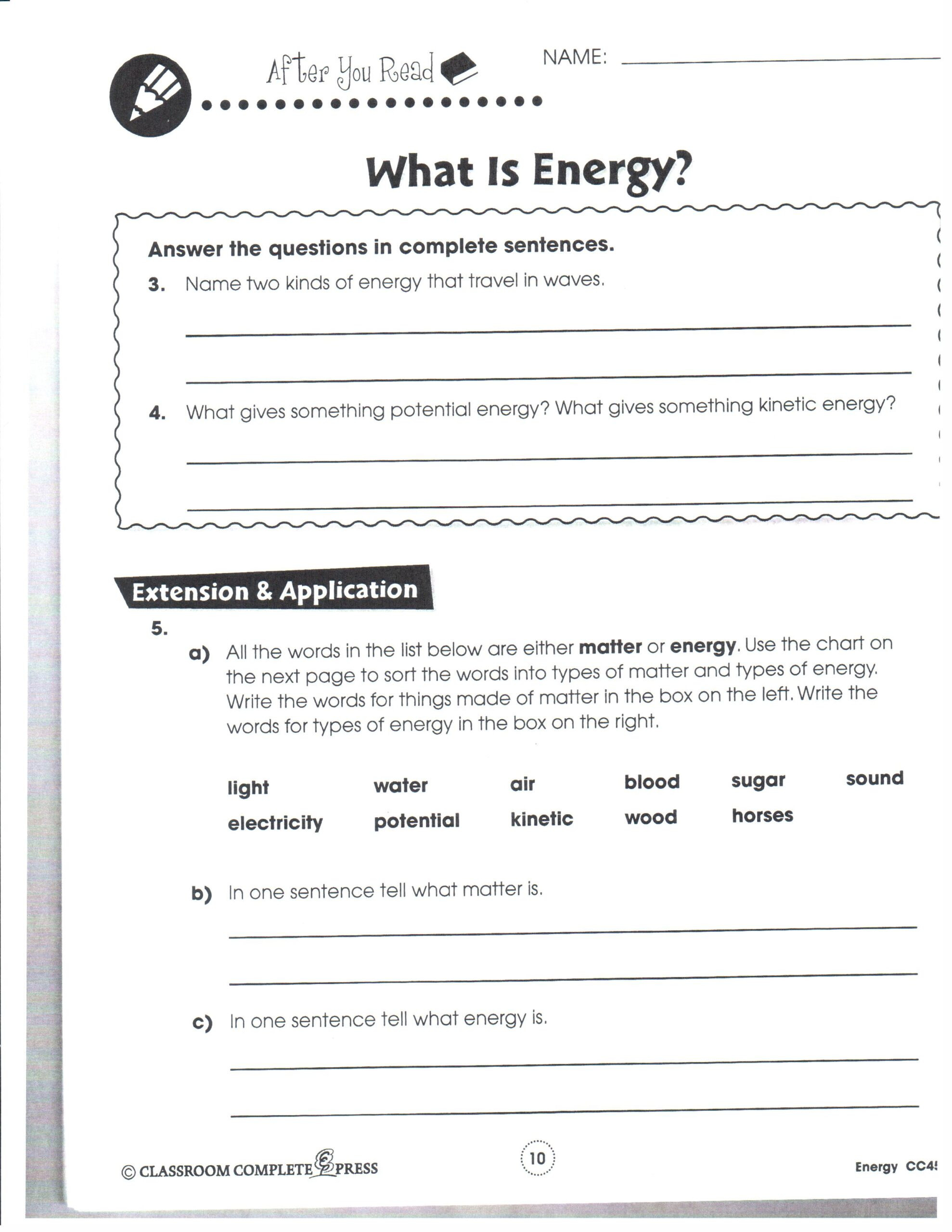 Energy 4th Grade Worksheets Physical Science January Mrs Garchow Classroom 8th