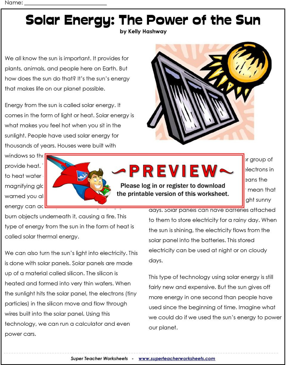 Energy Worksheets Middle School Pdf solar Energy the Sun by Kelly Hashway Pdf Free Worksheets
