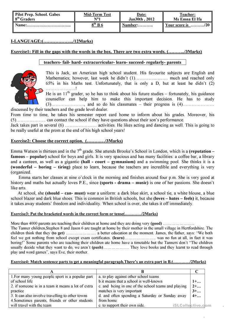 English Worksheets for 8th Grade Test for 8th Graders English Esl Worksheets for Distance