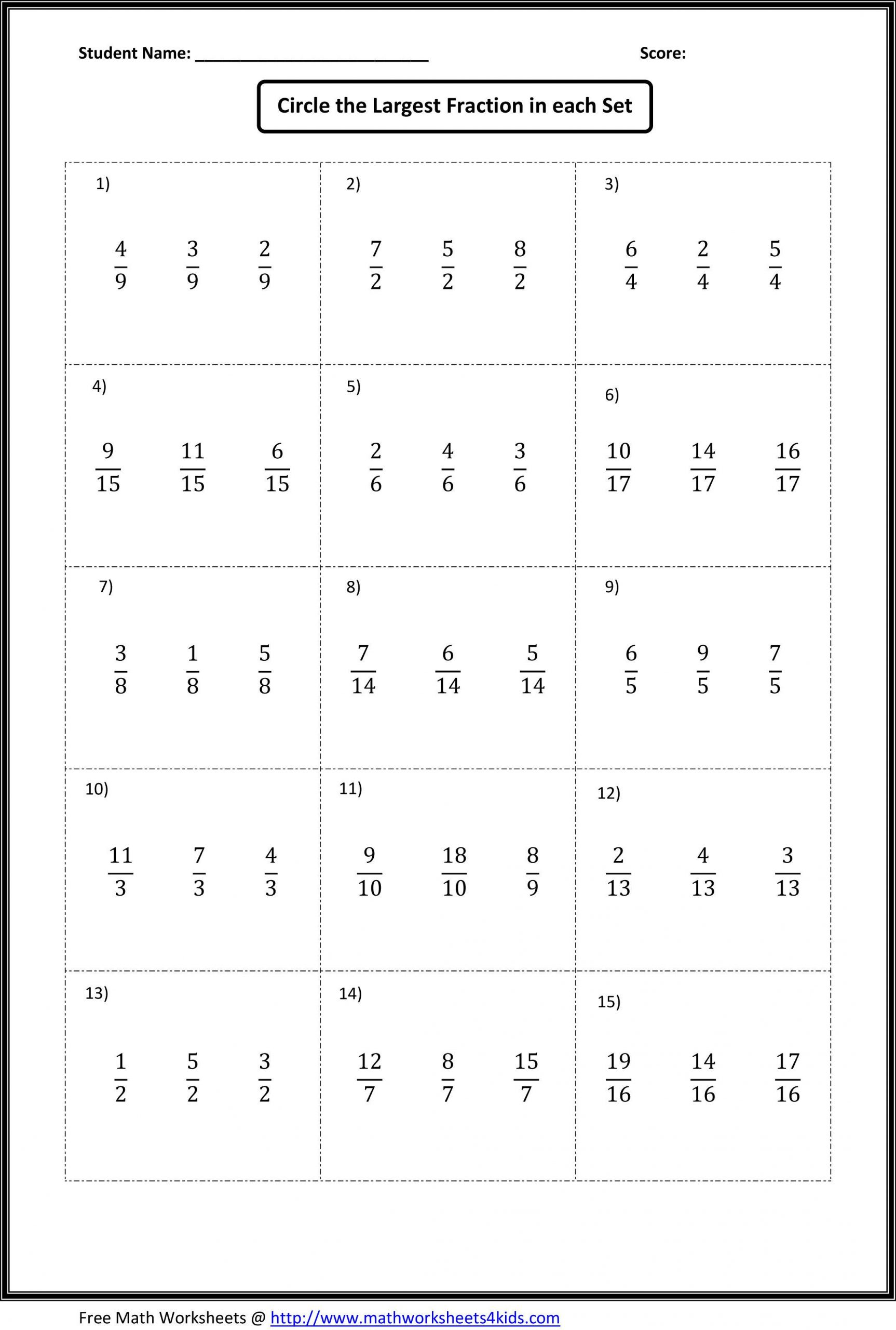 Equivalent Fractions Worksheets 5th Grade Paring Fractions Worksheets Find Out which Fraction is