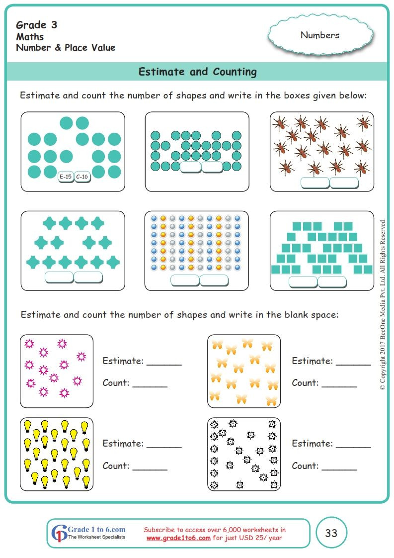 Estimating Sums Worksheets 3rd Grade Worksheet Grade 3 Math Estimate and Counting In 2020