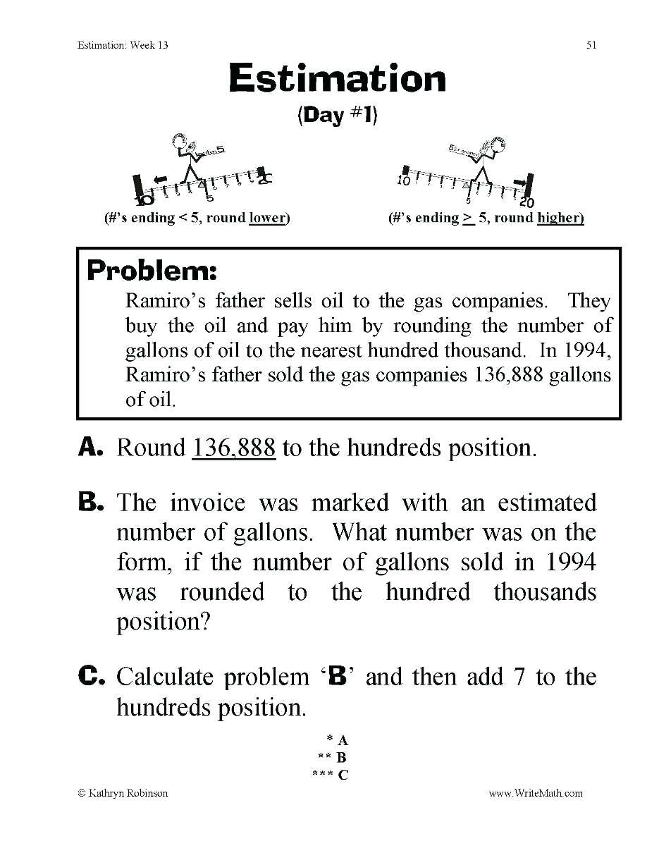 Estimation Worksheets for 3rd Grade Rounding Word Problems 3rd Grade Math Worksheets Addition