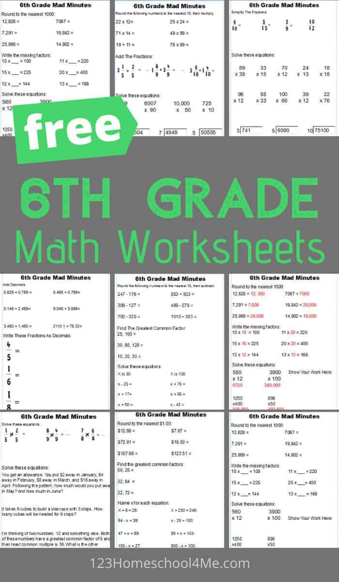 Everyday Math 4th Grade Worksheets Free 6th Grade Math Worksheets Getting Ready for Everyday