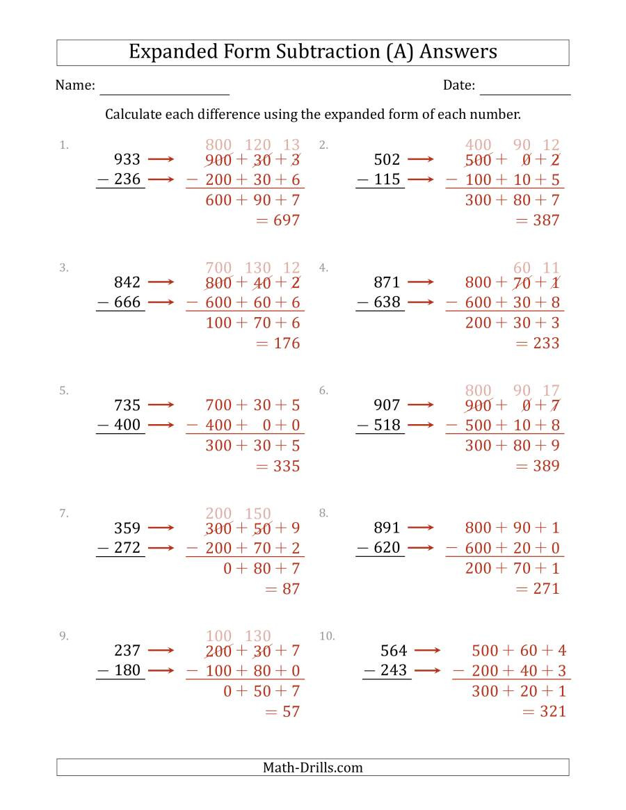 Expanded Notation Worksheets 3rd Grade 3 Digit Expanded form Subtraction A