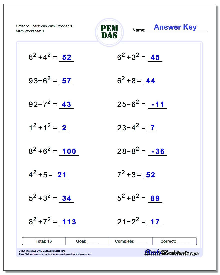 order of operations with exponents worksheet order of operations worksheet with exponents order of operations with integers and exponents worksheet