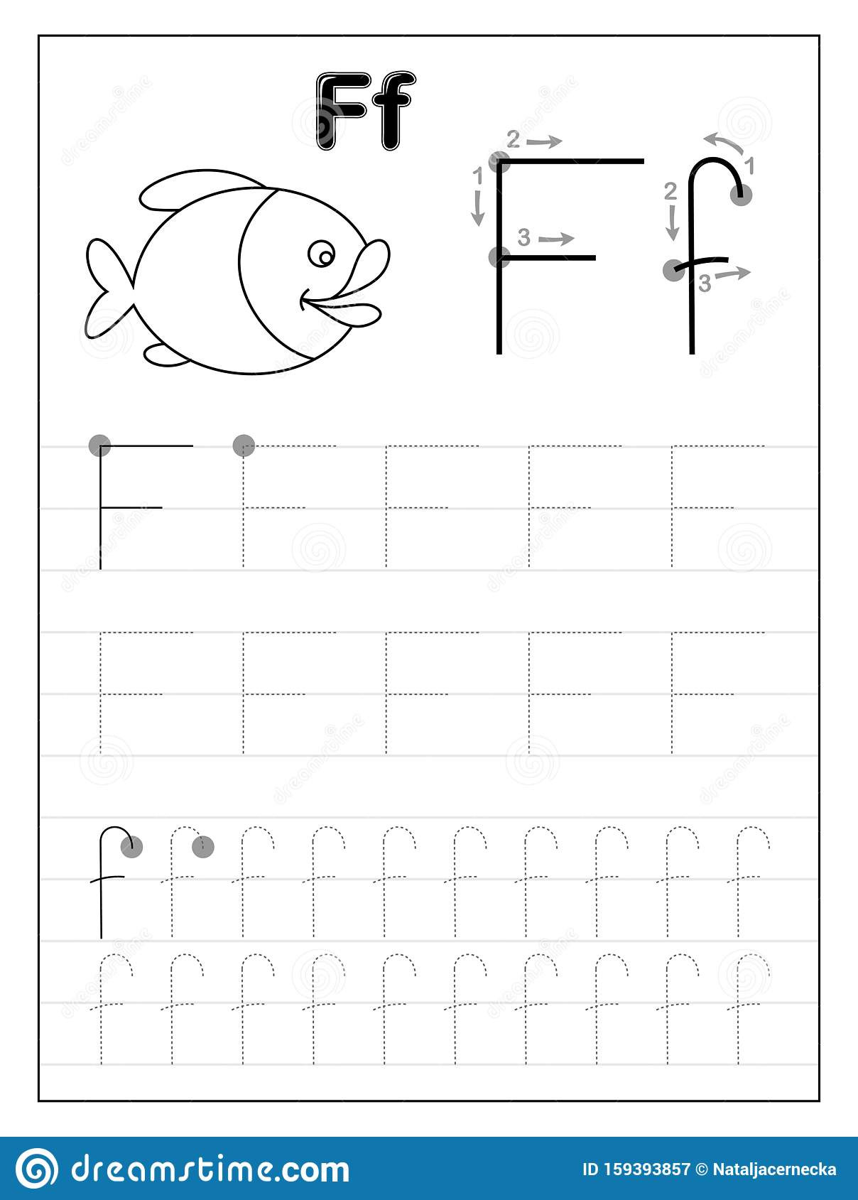 F Worksheets for Preschool Tracing Alphabet Letter F Black and White Educational Pages