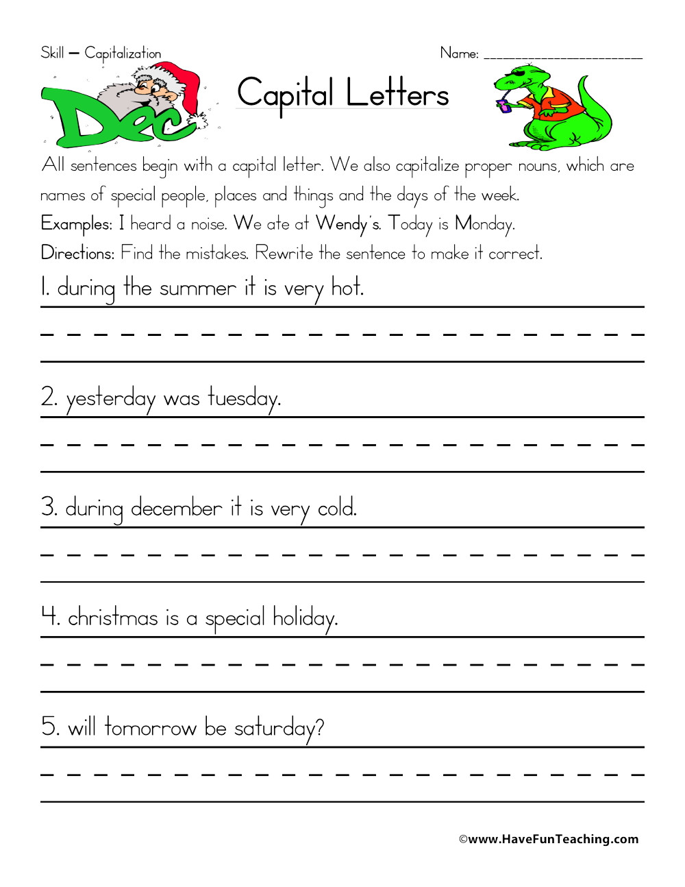 First Grade Capitalization Worksheets Fixing Capitalization Errors Worksheet
