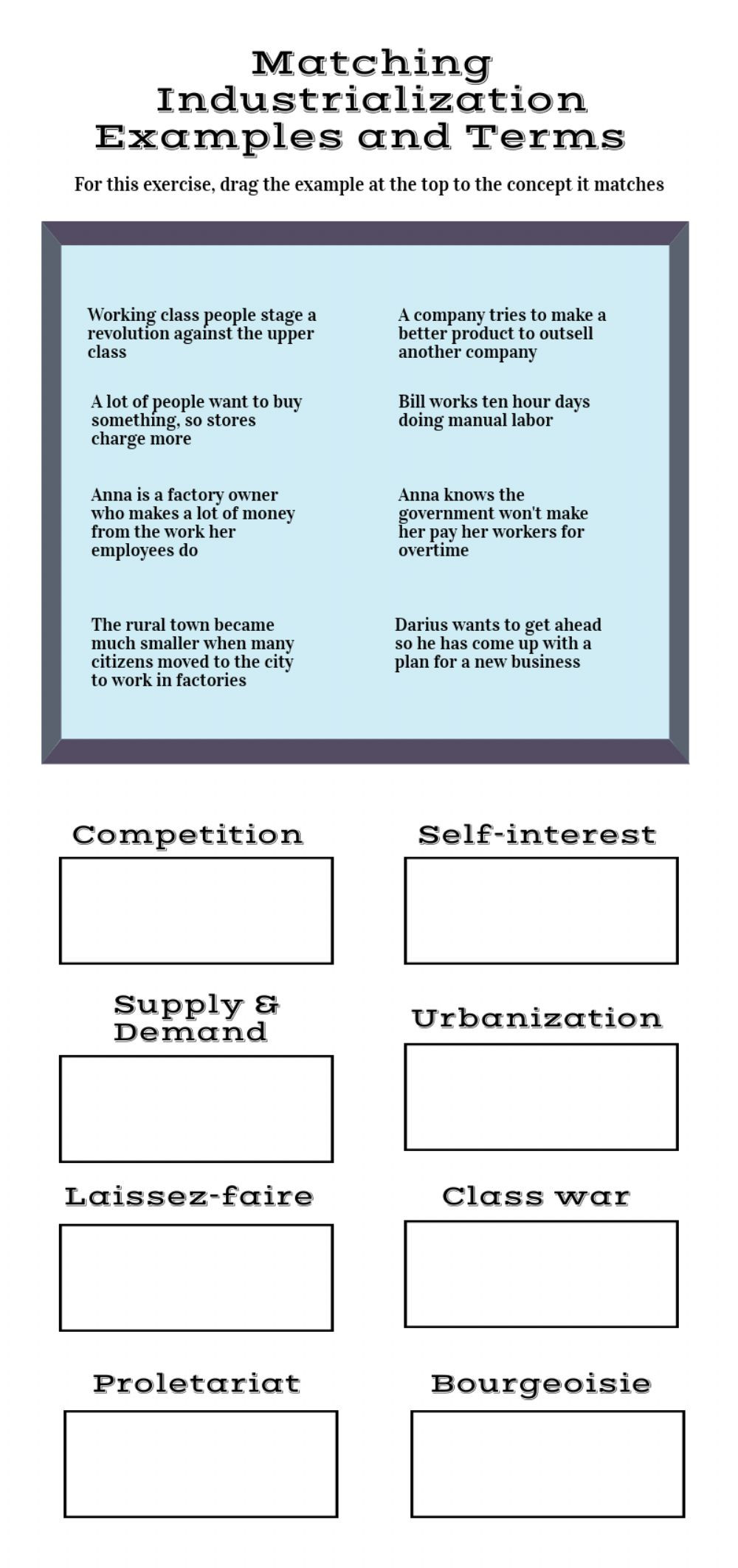 First Grade History Worksheets Industrialization Examples and Terms Interactive Worksheet