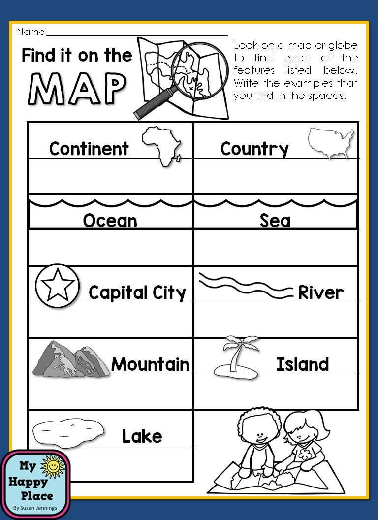First Grade History Worksheets Maps Unit with Powerpoint and Printables Geography