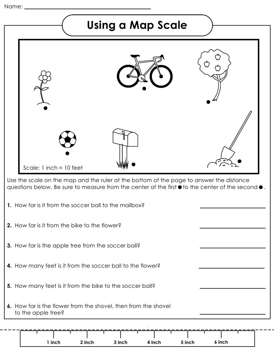 First Grade Map Skills Worksheets Using Scale A Map Worksheet