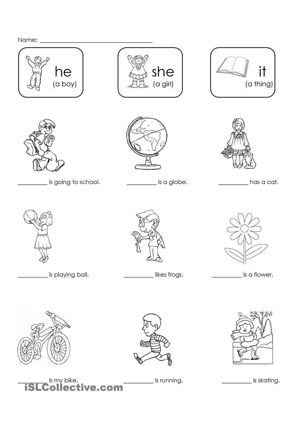 First Grade Pronoun Worksheets He She or It