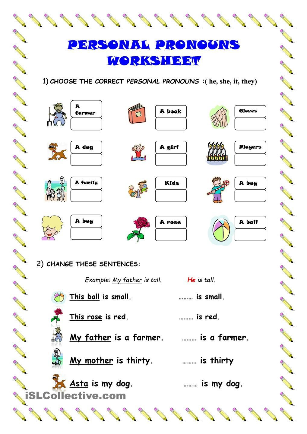 First Grade Pronoun Worksheets Personal Pronouns Worksheet Worksheets Learning Function