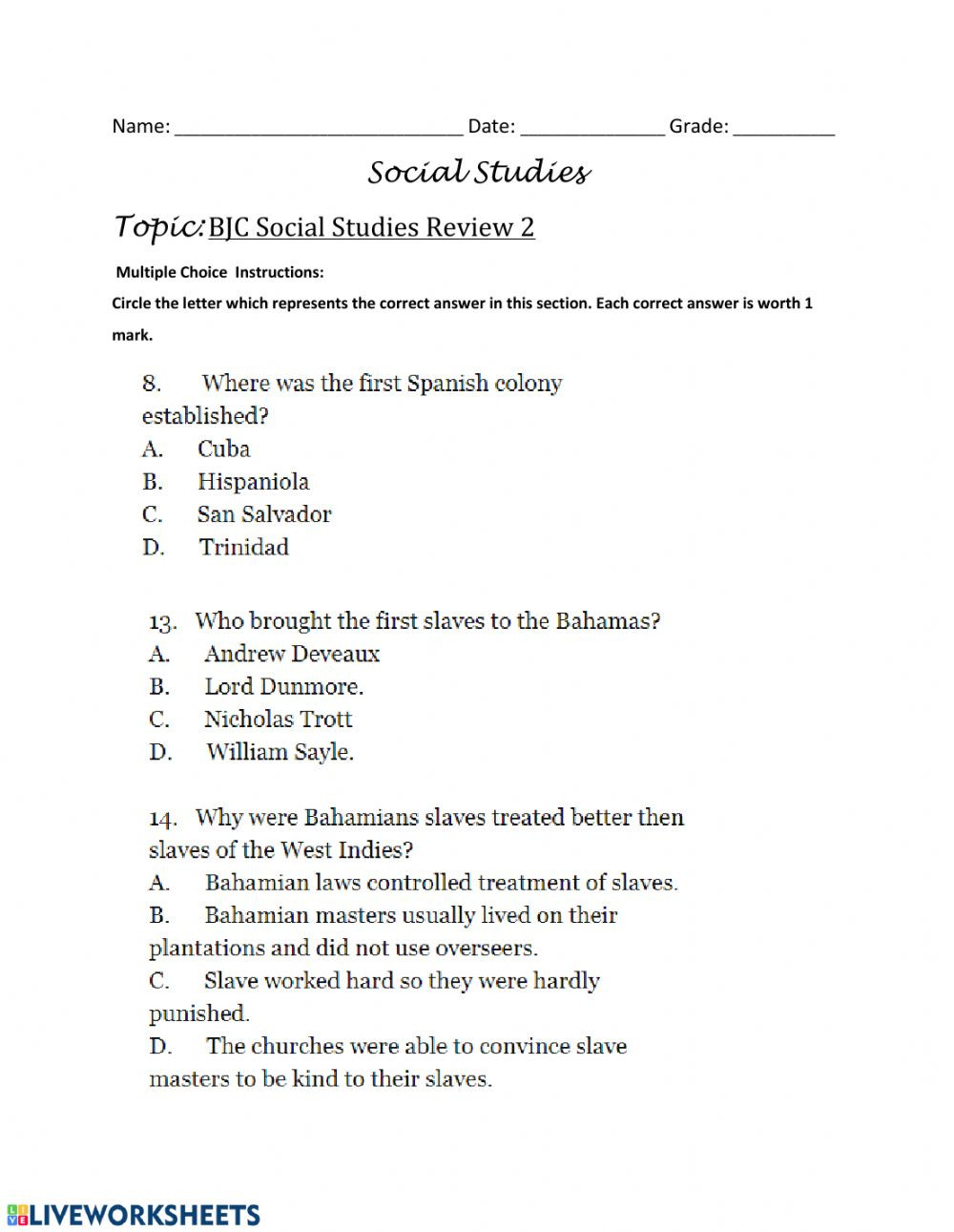 First Grade social Studies Worksheets Bjc Review Multiple Choice Questions 3 Interactive