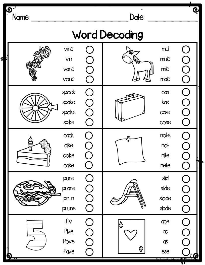 First Grade Spelling Words Worksheets First Grade Word Decoding Practice Worksheets or assessments