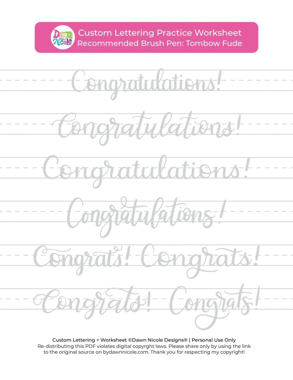 Free Calligraphy Worksheets Printable Worksheet Congratulations Brush Calligraphy Practice