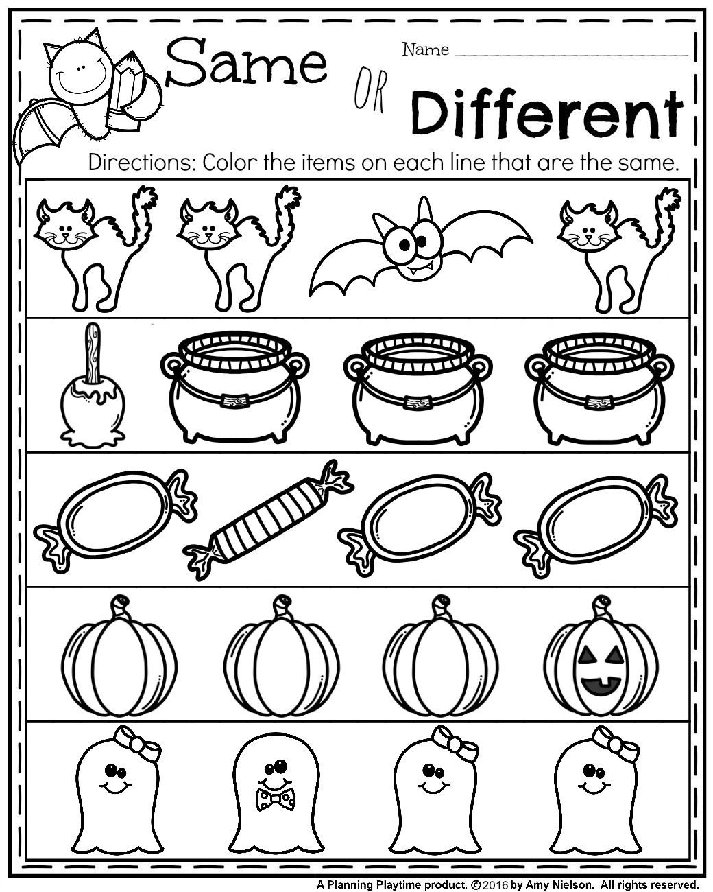 Free Kindergarten Halloween Worksheets Printable October Preschool Worksheets Planning Playtime