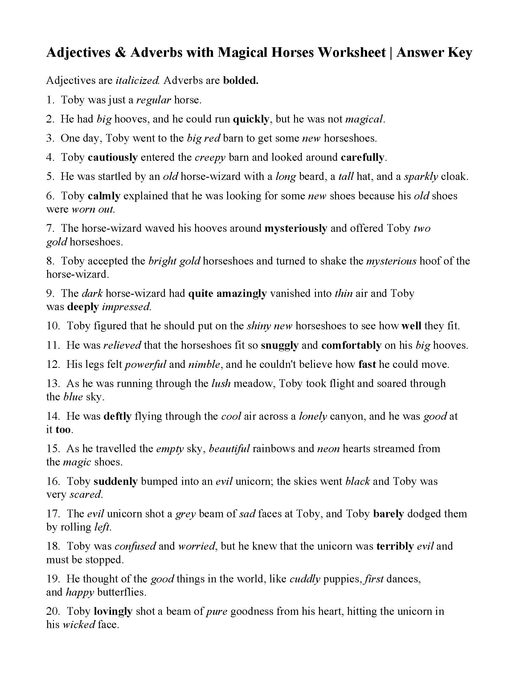 Free Printable Adjective Worksheets Adjectives and Adverbs with Magical Horses Worksheet Answers