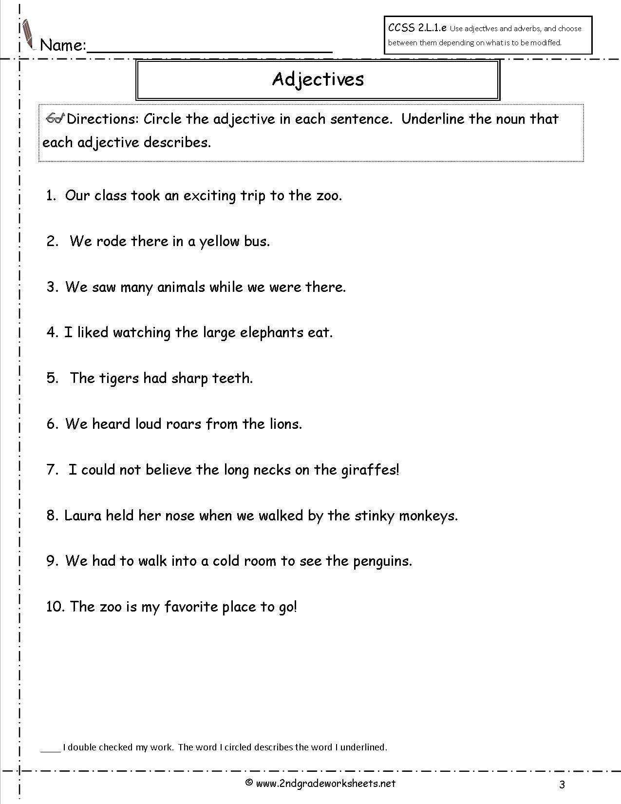 Free Printable Adjective Worksheets Adjectives and Adverbs Worksheets