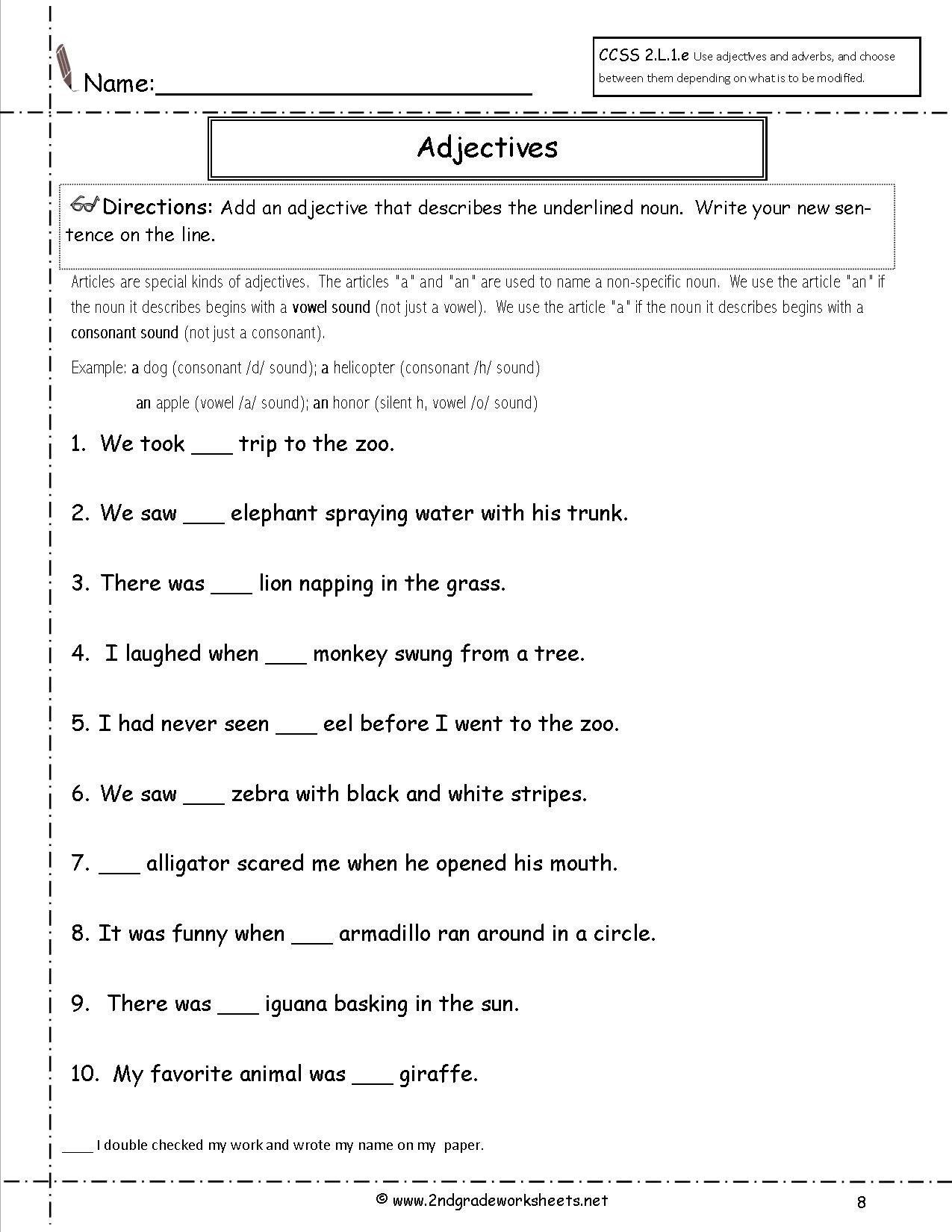 Free Printable Adjective Worksheets Free Printable Adjective Worksheets Free Using Adjectives
