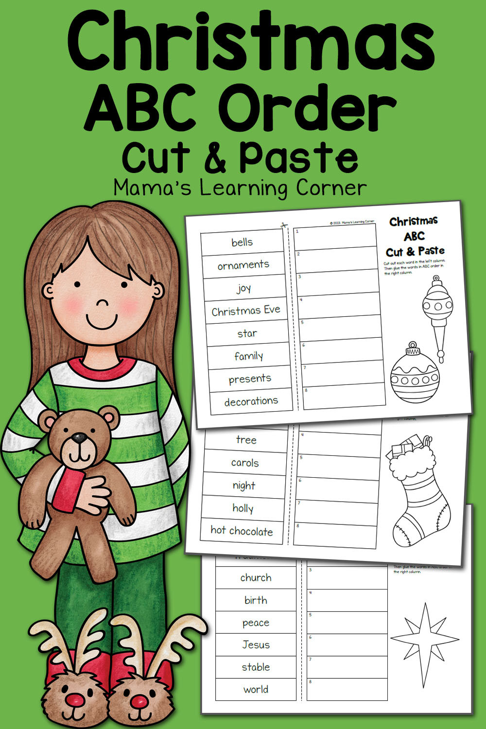 Free Printable Alphabetical order Worksheets Christmas Abc order Worksheets Cut and Paste Mamas