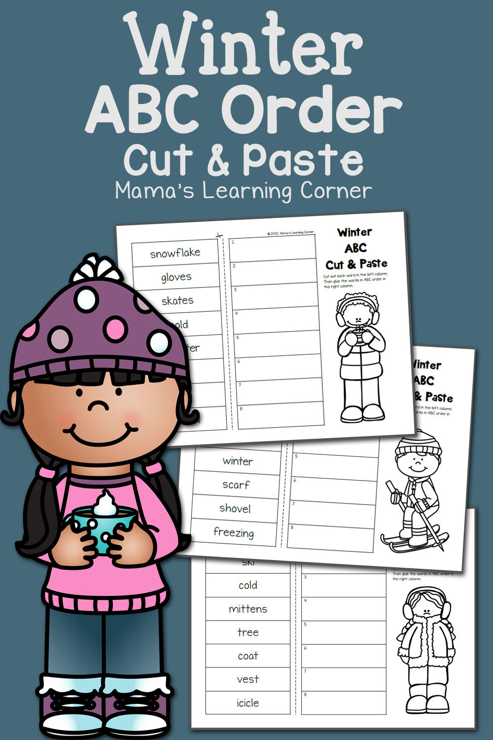 Free Printable Alphabetical order Worksheets Winter Cut and Paste Abc order Mamas Learning Corner