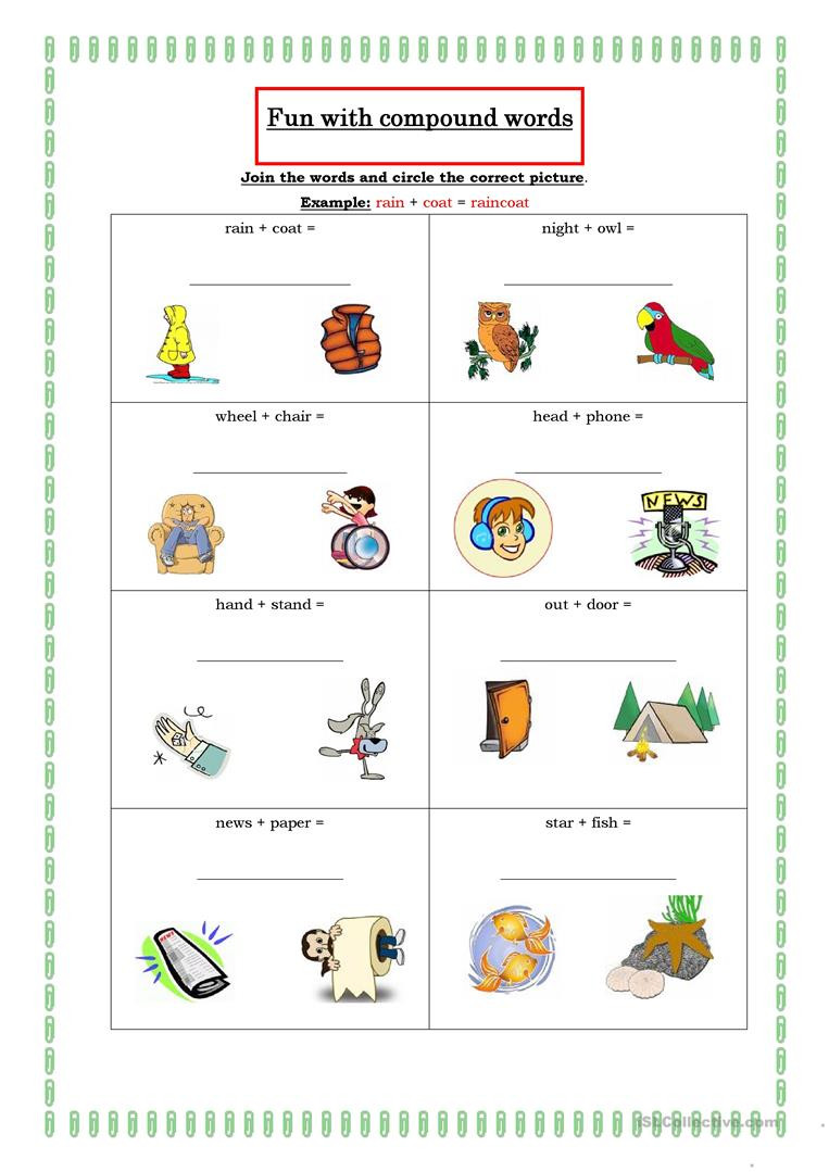 Free Printable Compound Word Worksheets Fun with Pound Words English Esl Worksheets for