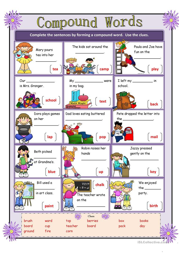 Free Printable Compound Word Worksheets Pound Words English Esl Worksheets for Distance