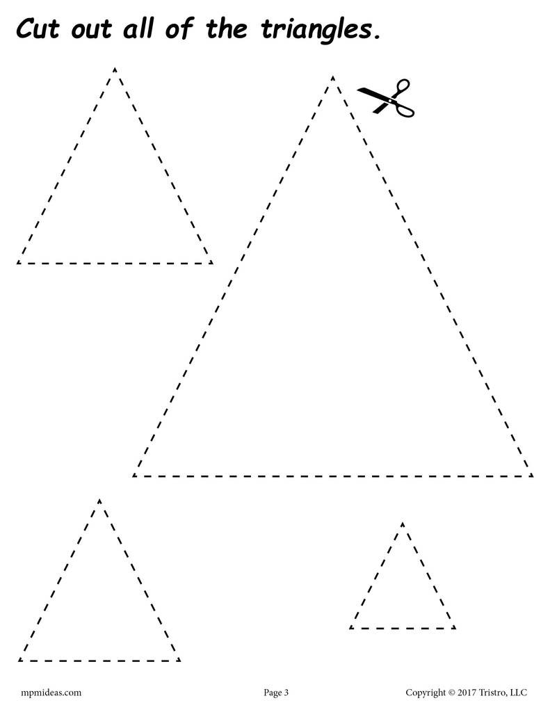 Free Printable Cutting Worksheets Triangles Cutting Worksheet