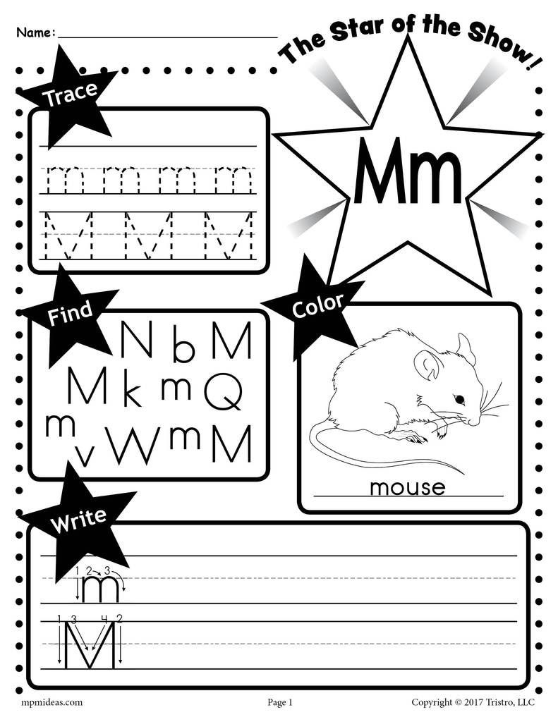 Free Printable Letter M Worksheets Letter M Worksheet Tracing Coloring Writing & More