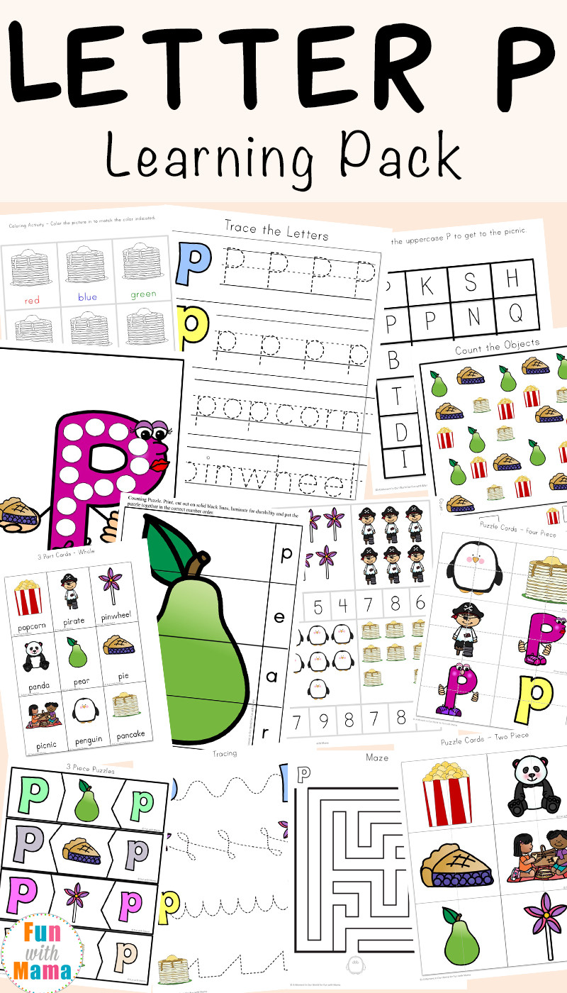 Free Printable Letter P Worksheets Letter P Worksheets Printables Fun with Mama