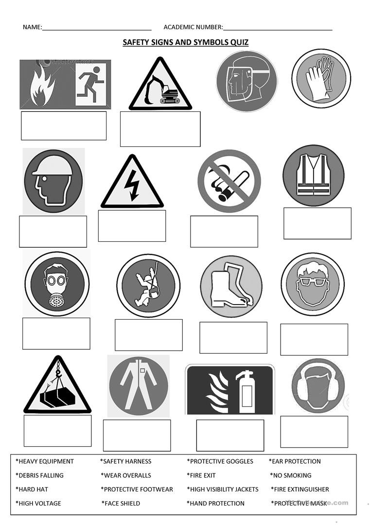 Free Printable Safety Signs Worksheets Safety Signs English Esl Worksheets for Distance Learning