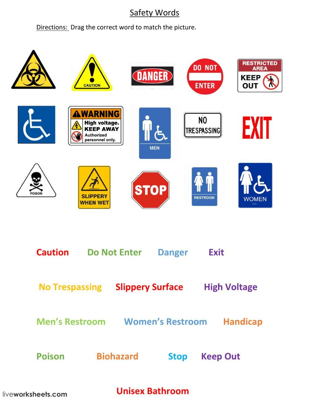Free Printable Safety Signs Worksheets Safety Signs Interactive and Able Worksheet You Can