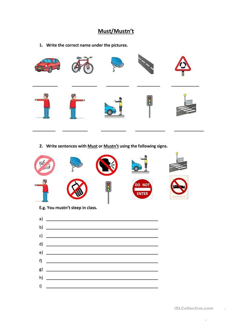 Free Printable Safety Signs Worksheets Signs & Must Mustn T In 2020