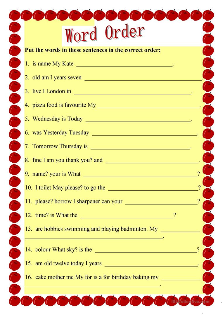 Free Printable Sentence Structure Worksheets English Esl Worksheets Activities for Distance Learning and