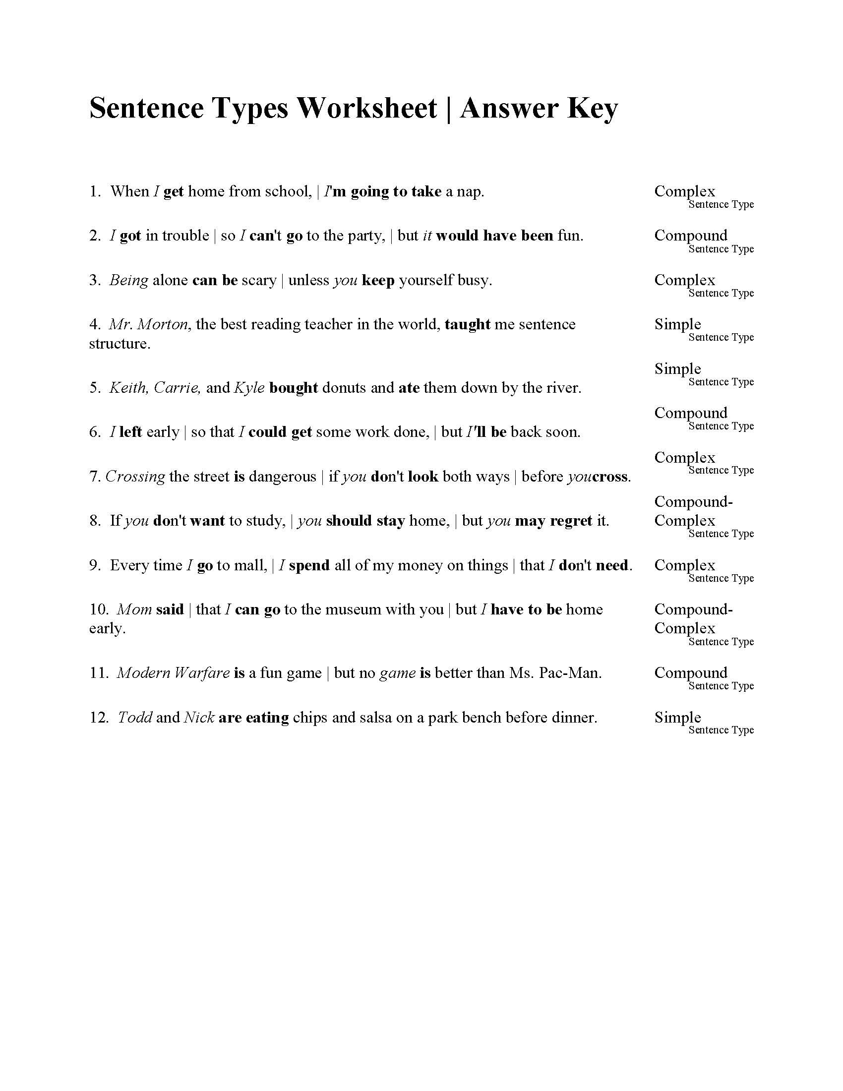 Free Printable Sentence Structure Worksheets Sentences Types Worksheet Answers Sentence Exercises