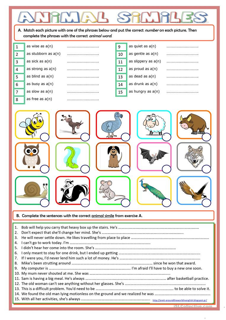 Free Printable Simile Worksheets Animal Similes English Esl Worksheets for Distance