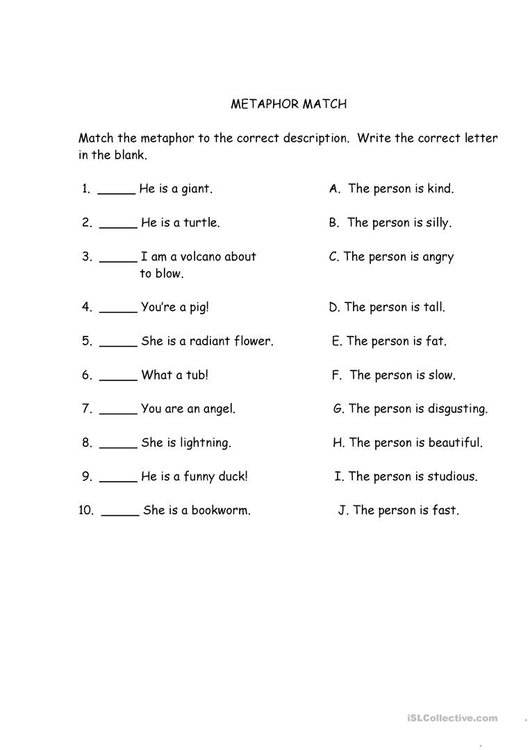 Free Printable Simile Worksheets Metaphor Match English Esl Worksheets for Distance