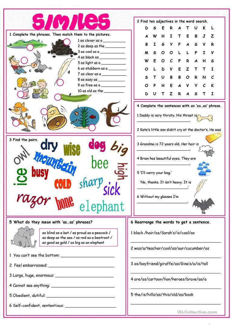 Free Printable Simile Worksheets Similes Vocabulary Exercises