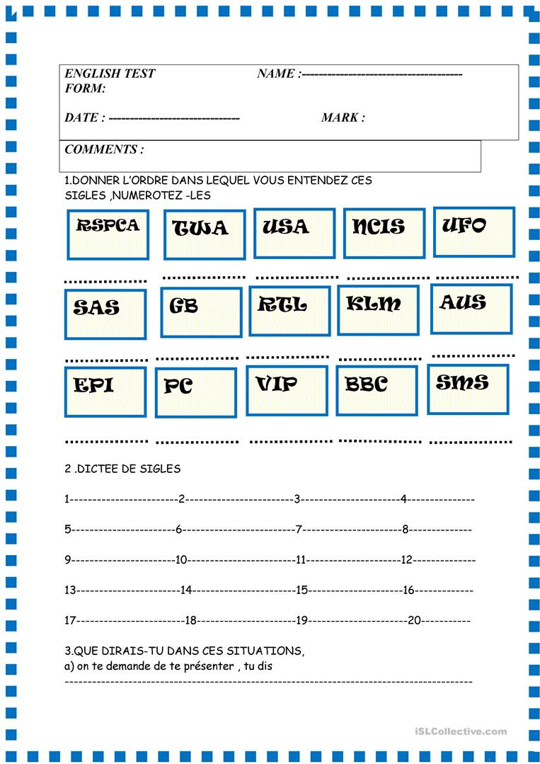 French Printable Worksheets Basic Test with French Instructions Greetings Alphabet