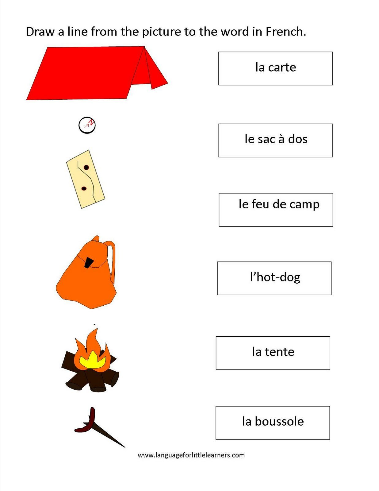 French Printable Worksheets French Worksheets Matching