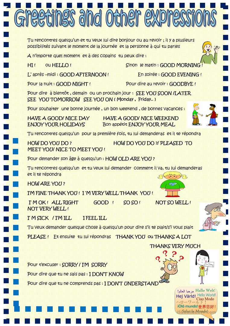 French Printable Worksheets Greetings with French Prompts English Esl Worksheets for