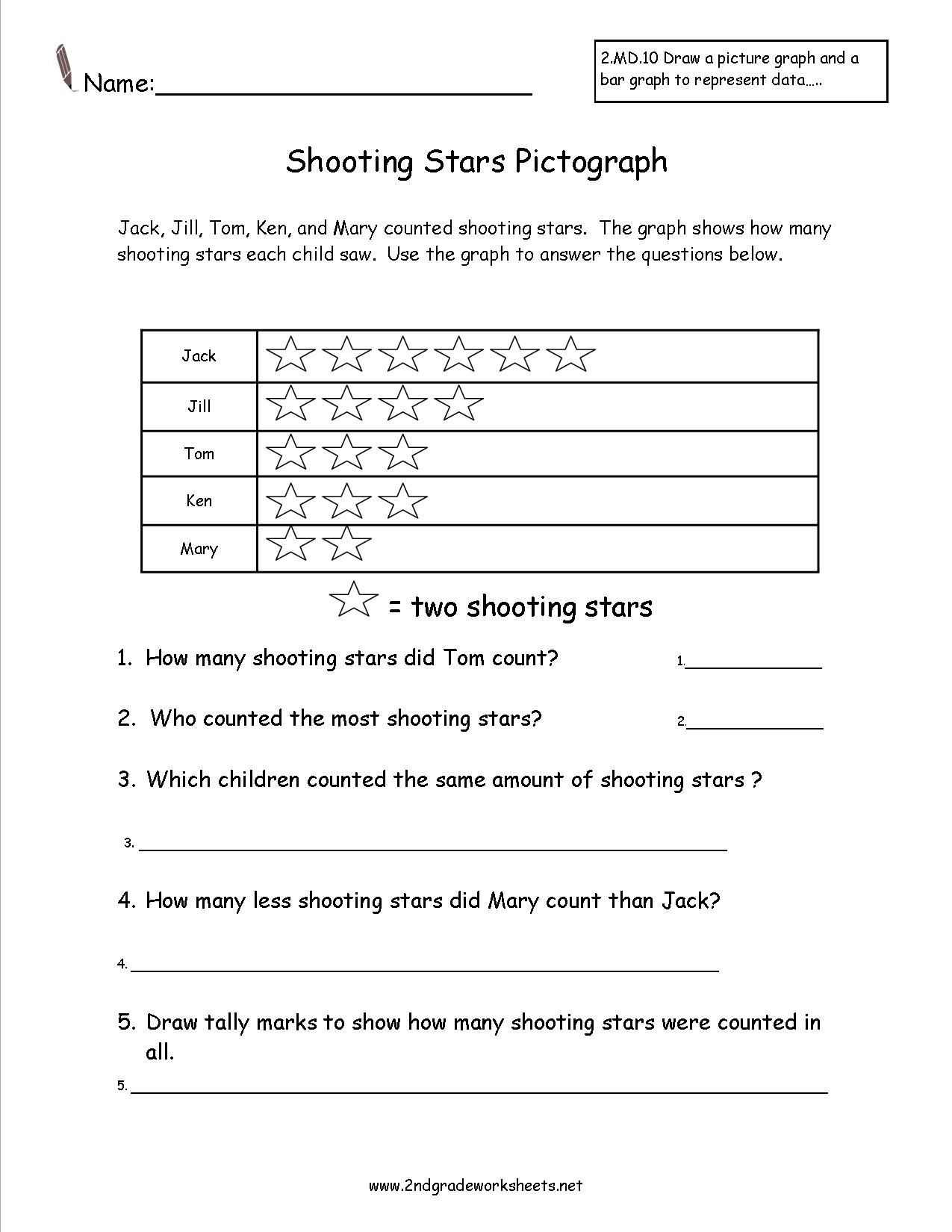 Frequency Table Worksheets 3rd Grade Shooting Stars Pictograph Worksheet