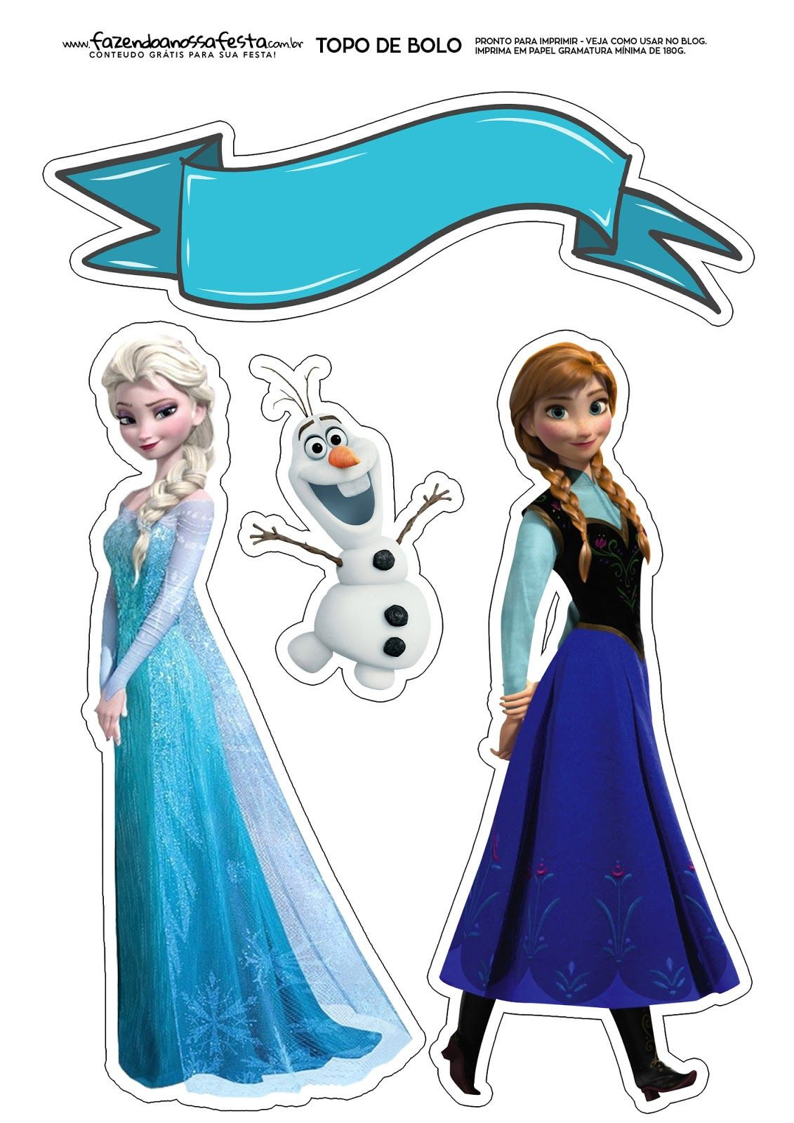 Frozen Cake toppers Printable Anna and Elsa Of Frozen Free Printable Cake toppers