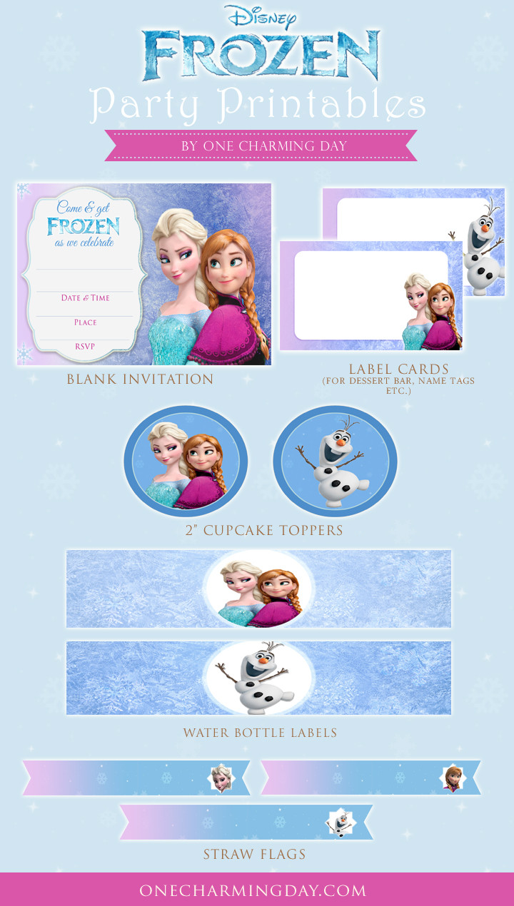Frozen Invitations Printable Free Free Frozen Party Printables E Charming Day