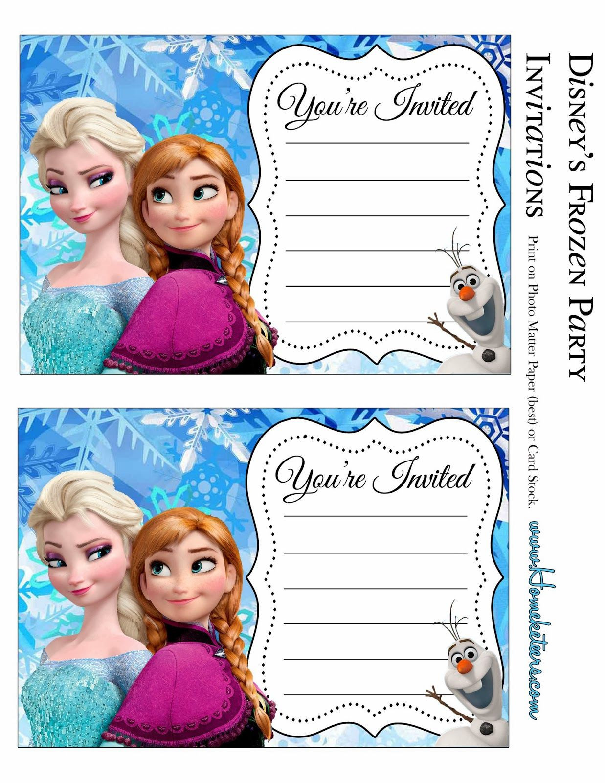 Frozen Printable Birthday Invitations Free Printables for the Disney Movie Frozen
