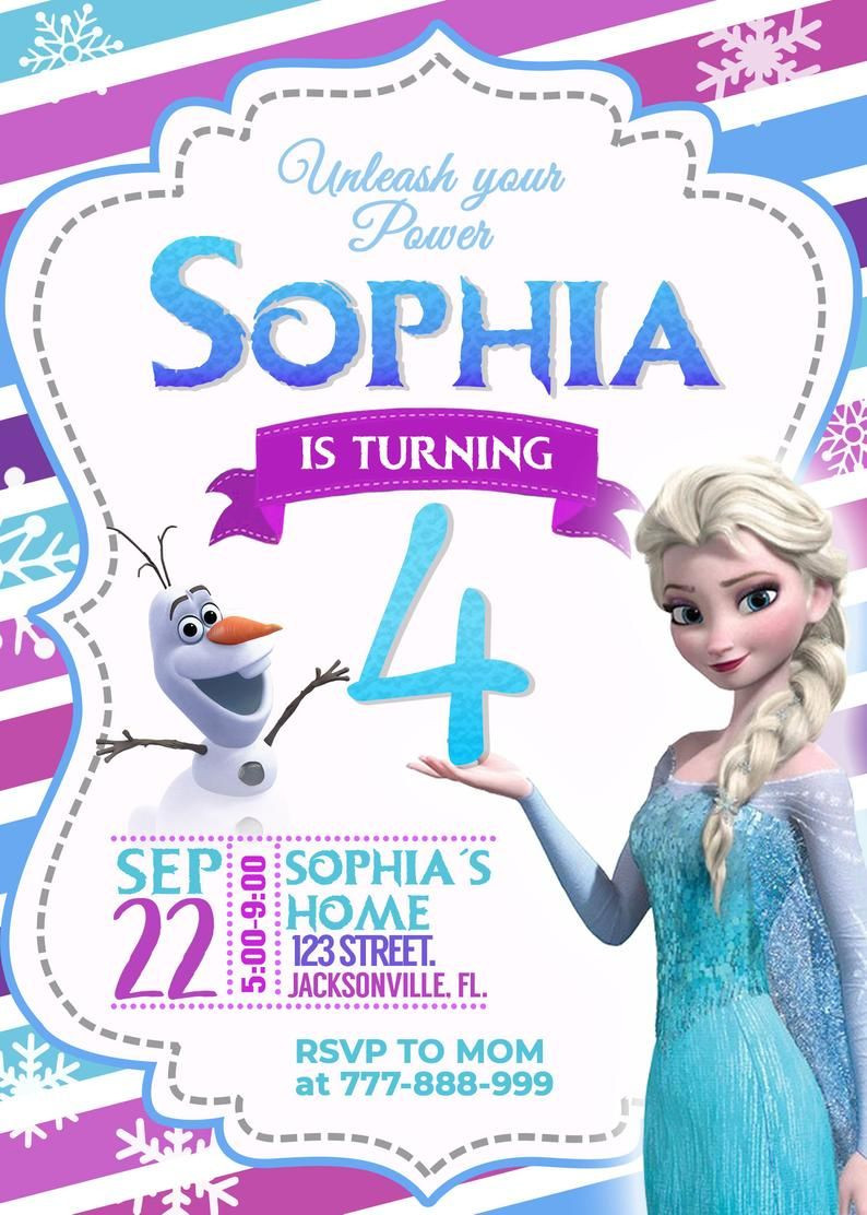 Frozen Printable Birthday Invitations Frozen 2 Birthday Invitation Girl Birthday Invitation