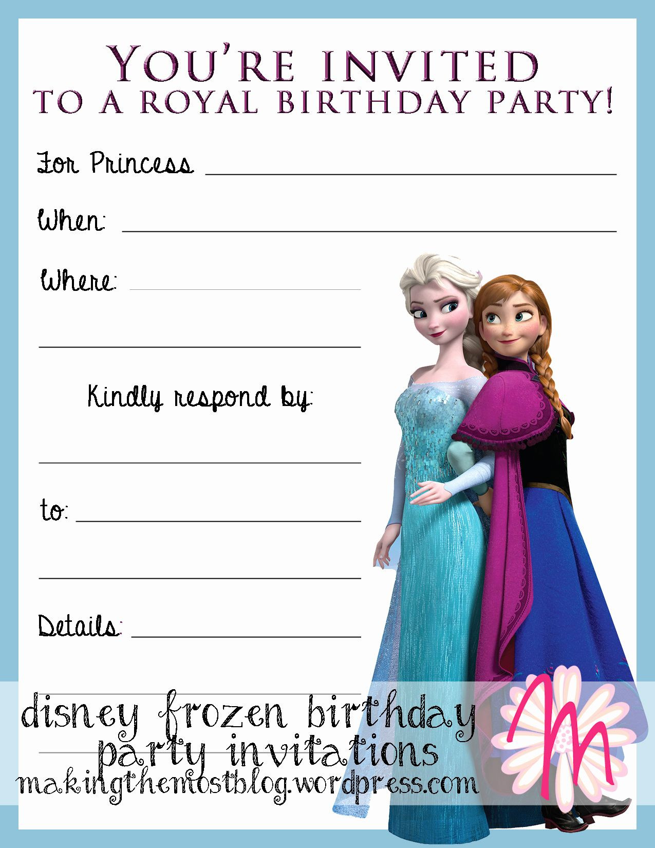 Frozen Printable Birthday Invitations Frozen Party Invitation Templates In 2020